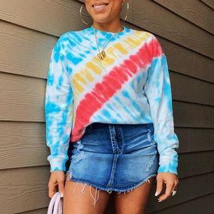 Tie-Dye cinch waist sweatshirt